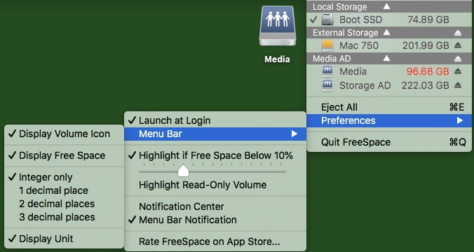 Mac FreeSpace Preferences Picture